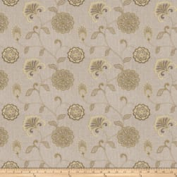 Fabricut Dory Floral Embroidered Pistachio Linen Fabric