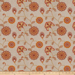 Fabricut Dory Floral Embroidered Sienna Linen Fabric
