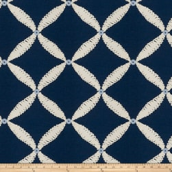Fabricut Dual Console Embroidered Navy Fabric