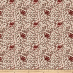 Fabricut Ezana Crewel Linen Blend Ruby Fabric