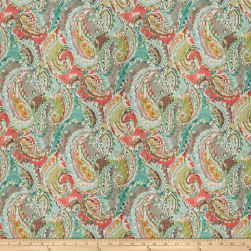 Fabricut Paddle Paisley Barkcloth Spring Rose Fabric