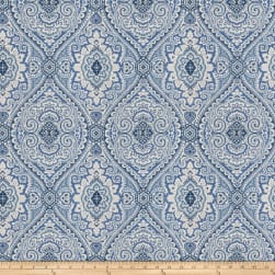 Fabricut Pocket Medallion Slub Ocean Blue Fabric
