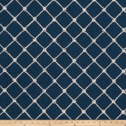 Fabricut Ticket Diamond Embroidered Navy Canvas Fabric