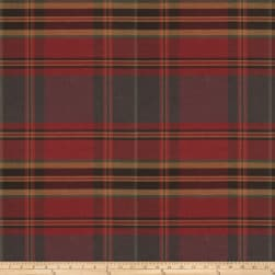 Fabricut Values Twill Plaid Garnet Fabric