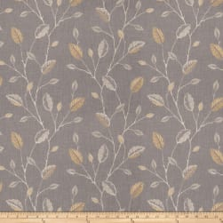Fabricut Wing Leaves Embroidered Goldenrod Fabric