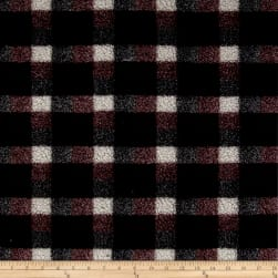 Shannon Berber Check Fleece Burgundy Fabric
