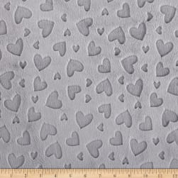 Shannon Minky Cuddle Embossed Heart Silver