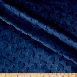 Shannon Minky Embossed Heart Cuddle Navy