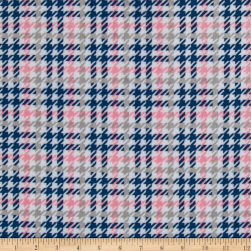 Shannon Kaufman Minky Cuddle Houndscheck Coral/Navy Fabric