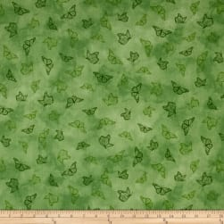 Serenity Prayer Butterfly Toile Green Fabric