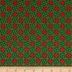Home For The Holiday Snowflake Tiles Green Fabric