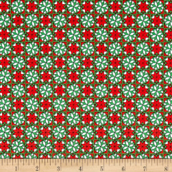 Home For The Holiday Snowflake Tiles Red/Green Fabric