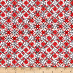 Home For The Holiday Snowflake Tiles Red/Gray Fabric
