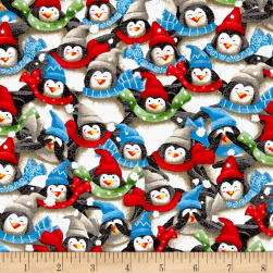 QT Fabrics Just Chillin' Packed Penguins Multi Fabric