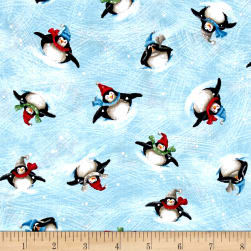 Just Chillin' Tossed Penguins Chambray Fabric