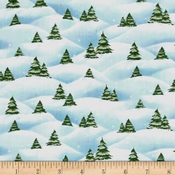 Just Chillin' Christmas Tree Scenic Light Blue Fabric