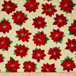 Poinsettia Grandeur Metallic Poinsettia Filigree Cream Fabric