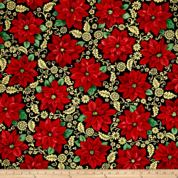 QT Fabrics Poinsettia Grandeur Metallic Poinsettia Filigree Black