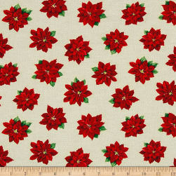Poinsettia Grandeur Metallic Tossed Poinsettia Cream