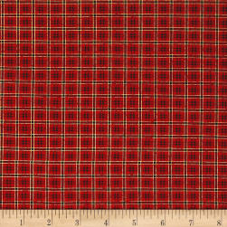 Poinsettia Grandeur Metallic Plaid Red Fabric