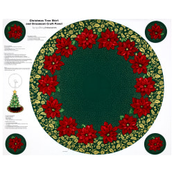 Poinsettia Grandeur Metallic Tree Skirt 35.5'' Panel Forest Fabric