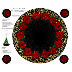 Poinsettia Grandeur Metallic Tree Skirt 35.5'' Panel Black Fabric