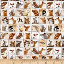 Woodland Friends Animal Patch Tan Fabric
