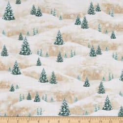 Woodland Friends Pine Tree Scenic Light Tan Fabric