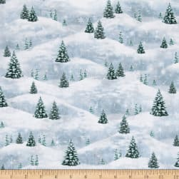 Woodland Friends Pine Tree Scenic Blue Frost Fabric
