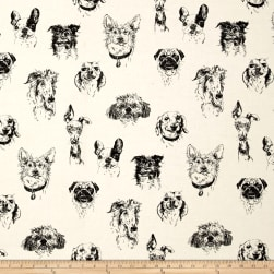 Bow Wow Wow Dog Portaits Tea/Black Fabric