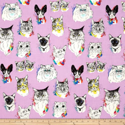 Meow Wow Wow Cat Portraits Lavender Fabric