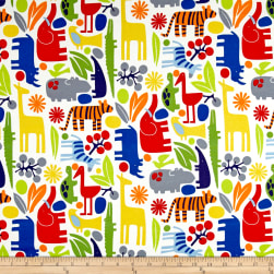 Alexander Henry Jersey Knit 2-D Zoo Primary Fabric