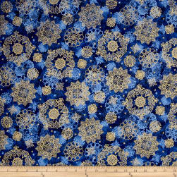In Bethlehem Metallic Medallions Royal Blue Fabric