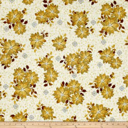 A Golden Holiday Poinsettias Cream Fabric