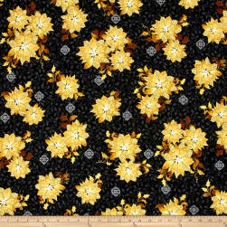 QT Fabrics A Golden Holiday Poinsettias Black Fabric