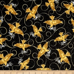A Golden Holiday Doves Black