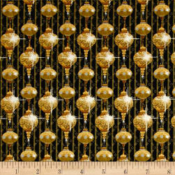 A Golden Holiday Ornaments Black Fabric
