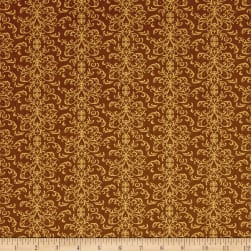 QT Fabrics A Golden Holiday Filigree Brown Fabric