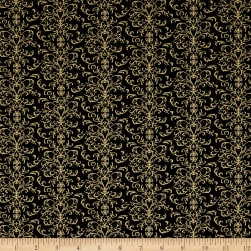 QT Fabrics A Golden Holiday Filigree Black Fabric