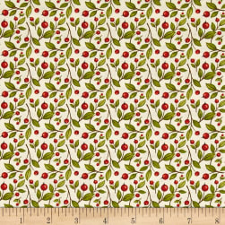 Harvest Greetings Leaf Berry Cream Fabric