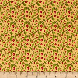 QT Fabrics Harvest Greetings Leaf Berry Butterscotch Fabric