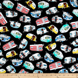Timeless Treasures Vintage Campers Black Fabric