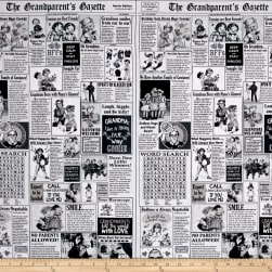Timeless Treasures Grandparents Newspaper White Fabric
