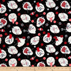 Timeless Treasures Knitting Sheep Knitting Sheep Black Fabric