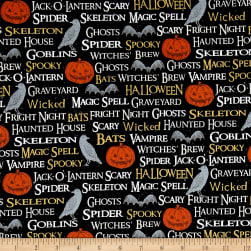 Timeless Treasures Hocus Pocus Halloween Words Noir Fabric