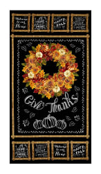 Timeless Treasures Autumn Bounty Metallic Wreath Chalkboard 23