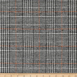 Wool Blend Houndstooth Plaid Black/White