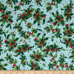 Retro Santa Tossed Holly Light Teal Fabric