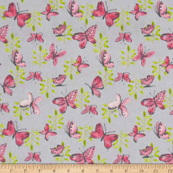 Flutter Tossed Butterflies Grey Fabric