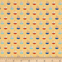 Sail Away Sailboats Gold Fabric